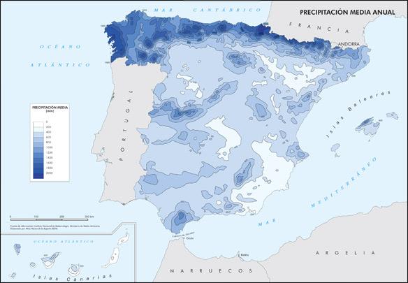 Mapa precipitación media anual en España - Depositália.es